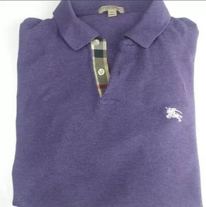 Burberry Men's Purple Slim Fit Polo Shirt